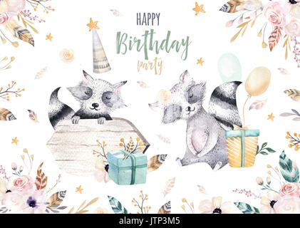 Cute baby raccon nursery animal isolated illustration for children. Bohemian watercolor boho forest raccons drawing, - Stock Photo
