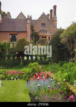 Chenies Manor House and sunken garden at tulip time on a dull day, but still beautiful. Colourful Bloms tulips, - Stock Photo