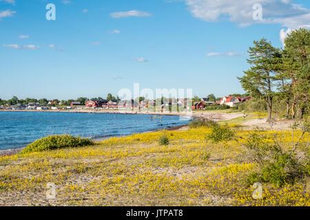 Beach just south of  Byxelkrok. Byxelkrok is a popular tourist destination on Swedish Baltic sea island Oland. - Stock Photo