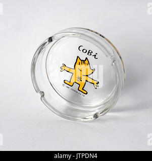 Vintage glass ashtray with Cobi, designed by Mariscal for the olympic games of 1992 in Barcelona - Stock Photo