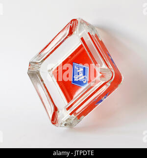 Vintage glass ashtray with AGFA photography logo, Made in Germany - Stock Photo