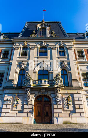 Front of the Pszczyna castle - classical-style palace in Poland. - Stock Photo