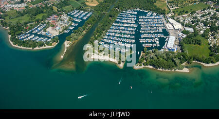Aerial perspective of Boats and marina nearby the village Langenargen at lake constance - Stock Photo