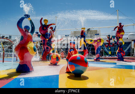 H2O Zone, Freedom of the Seas, Royal Caribbean International - Barcelona, Spain - 07 May, 2017: Colorful fountains - Stock Photo