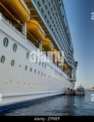 Freedom of the Seas - Villefranche, France - 09 May 2017: Royal Caribbean International - Port side of Freedom of - Stock Photo