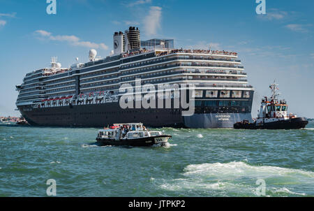 ms Oosterdam, Holland America Line -  Venice, Italy - 04 August, 2016: Cruise ship passing through the Grand Canal - Stock Photo