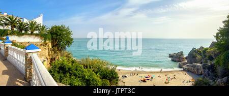 Playa Carabeillo beach in Nerja. Costa del Sol. Malaga province, Andalusia, Spain - Stock Photo
