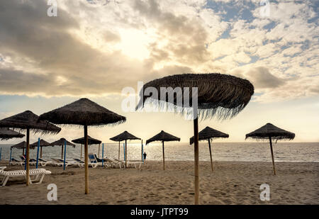 Torremolinos beach. Malaga province, Costa del Sol, Andalusia, Spain - Stock Photo