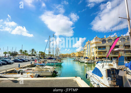 View of harbour Puerto Marina in Benalmadena. Costa del Sol, Malaga province, Andalusia, Spain - Stock Photo