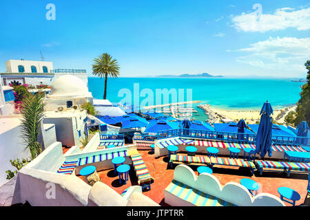 Beautiful top view of seaside and cafe terrace in Sidi Bou Said. Tunisia, North Africa - Stock Photo