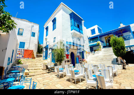 Cityscape with typical white blue colored houses in resort town Sidi Bou Said. Tunisia, North Africa - Stock Photo