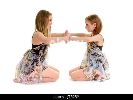 Siblings in a lyrical or contemporary dance routine duo - Stock Photo