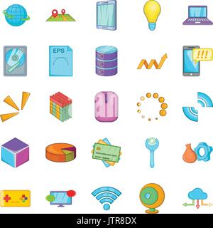 Data center icons set, cartoon style - Stock Photo