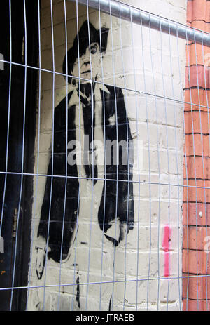 Stencil of Quentin Crisp by street artist STEWY - Stock Photo
