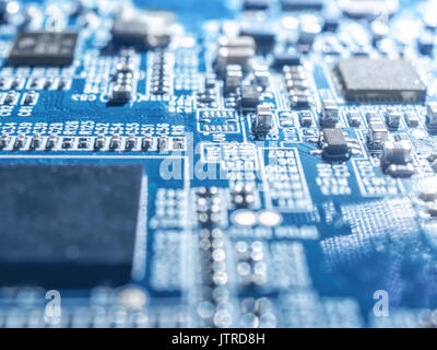 Electronic circuit chip board mother board computer CPU close up. - Stock Photo