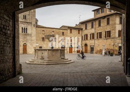 Medieval Piazza Silvestri in Bevagna (Italy). 2017. - Stock Photo