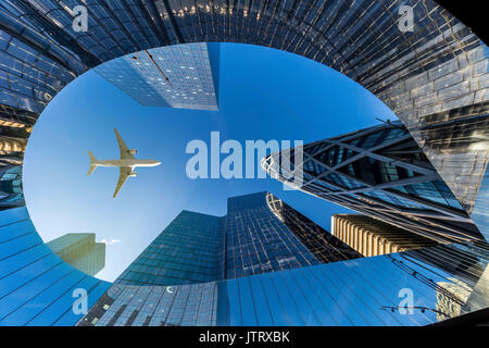 Up view of modern building of La Defense, Business district at the west of Paris, France - Stock Photo