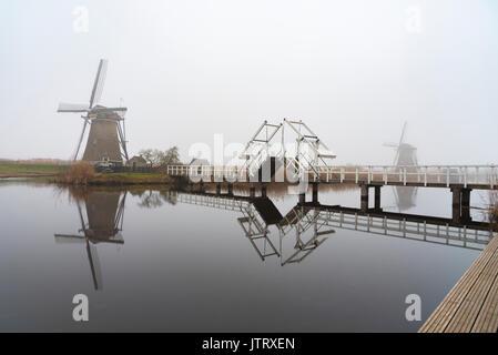 Kinderdijk, Listed in the UNESCO world heritage site located at Alblasserdam, nearby Rotterdam, Netherlands - Stock Photo