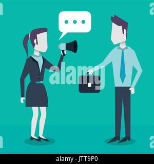 colorful background with dialogue between business people and him with briefcase and her with megaphone - Stock Photo