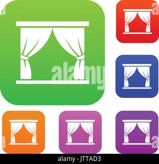 Curtain on stage set collection - Stock Photo