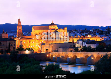 Roman Bridge and Guadalquivir River illuminated at dusk, Great Mosque in Cordoba, Spain - Stock Photo
