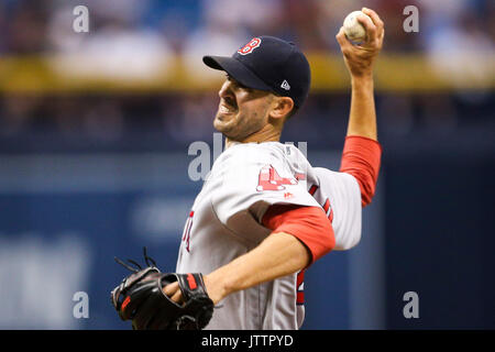 St. Petersburg, Florida, USA. 9th Aug, 2017. WILL VRAGOVIC | Times.Boston Red Sox starting pitcher Rick Porcello - Stock Photo
