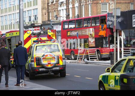 Clapham Bus Crash on Lavender Hill, Southwest London, UK. 10th Aug, 2017. Credit: Clickpics/Alamy Live News - Stock Photo