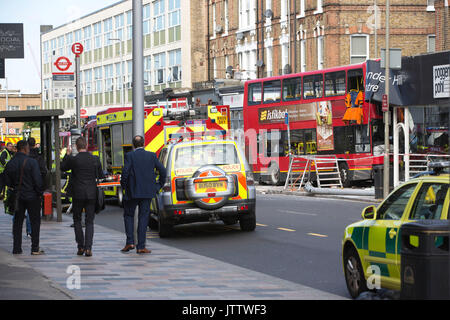 Double-Decker bus crash on the A306 in Clapham, Battersea, London, UK. 10.08.2017 Emergency services had to cut - Stock Photo