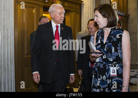 Washington, District Of Columbia, USA. 26th July, 2017. Sen. ORRIN HATCH (R-UT) speaks with reporters prior to a - Stock Photo
