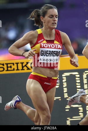 London, UK. 10th August, 2017. Spain's Esther Guerrero reacts after competing in the women's 800m heats at the London - Stock Photo