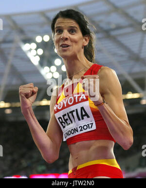 London, UK. 10th August, 2017. Spanish Ruth Beitia after a jump of the World Athletics Championships 2017 in London, - Stock Photo