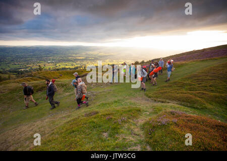 Archaeologists from Liverpool's Archaeology Field School leaving the dig at Penycloddiau Hillfort the largest iron - Stock Photo