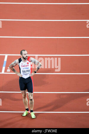 London, UK. 10th August, 2017. Ramil Guliyev, Turkey, rests after winning the m200mf on day seven of the IAAF London - Stock Photo