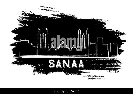 Sanaa (Yemen) Skyline Silhouette. Hand Drawn Sketch. Vector Illustration. Business Travel and Tourism Concept with - Stock Photo
