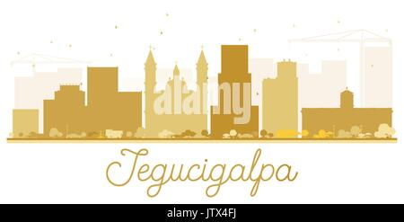 Tegucigalpa City Skyline golden silhouette. Vector illustration. Simple flat concept for tourism presentation, banner, - Stock Photo