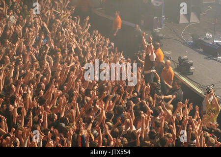large crowd of music fans enjoying live performance at Brixton Academy, London, UK - Stock Photo