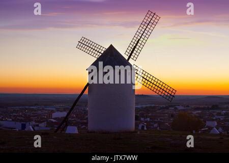 windmill in Campo de Criptana in sunrise time. La Mancha, Spain - Stock Photo
