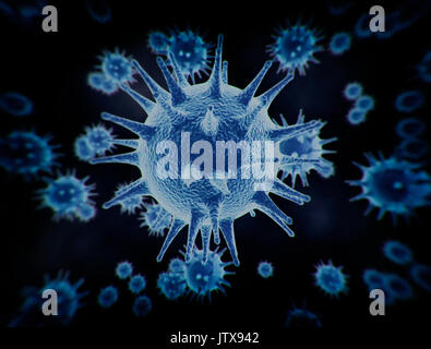 Large group of blue virus cells close up microscopic view - Stock Photo