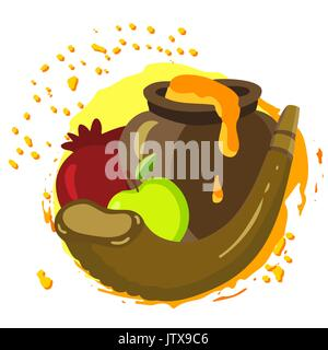 labels and elements for Rosh Hashanah Jewish New Year - Stock Photo