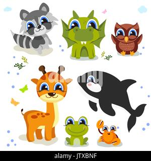 Set of cute animals isolated on white background. fauna of the world icon set. - Stock Photo