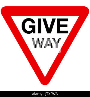 Give way road sign on white background - Stock Photo