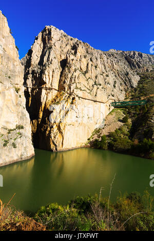 General view of  Caminito del Rey  over Reservoir at Chorro river.  Andalusia - Stock Photo