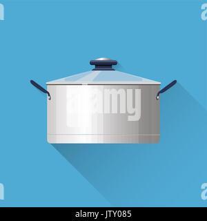 Saucepan illustration. Kitchen utensil. cooking stuff. Flat design. Vector illustration - Stock Photo