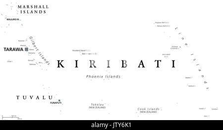 Kiribati political map with capital Tarawa. English labeling. Republic and island nation in the Pacific Ocean. Gray - Stock Photo