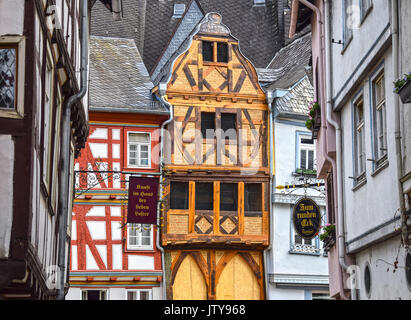 LIMBURG, GERMANY - MAY 11, 2017: Street view of half-timbered houses in the old town of Limburg an der Lahn, Germany. - Stock Photo
