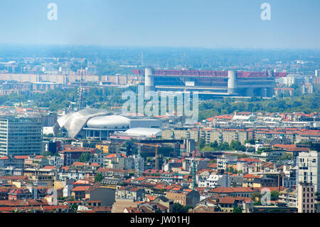 Italy, Lombardy, Milan, San Siro Football Stadium Stadio Giuseppe Meazza - Stock Photo