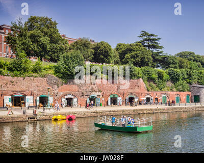 21 June 2017: Exeter Quayside, Exeter, Devon, England, UK - Butts Ferry, a hand powered cable ferry , crossing the - Stock Photo