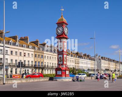 2 July 2017: Weymouth, Dorset, England, UK - The Jubilee Clock Tower on Weymouth Promenade on a beautiful sunny - Stock Photo