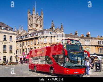 5 July 2017: Bath, Somerset, England, UK - Modern open top double decker bus of the Bath Bus Company, near Bath - Stock Photo