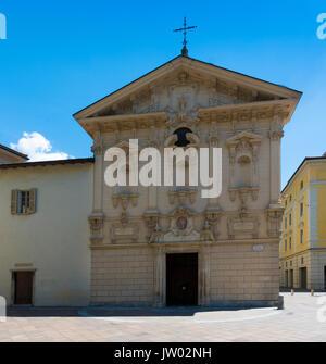 The Church of St Rocco in the city center of luxurious resort Lugano - Lugano, Lake Lugano, Lugano, Ticino, Switzerland, - Stock Photo